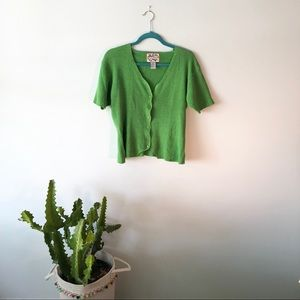 VINTAGE Green Knit Short Sleeve Button Top Sweater